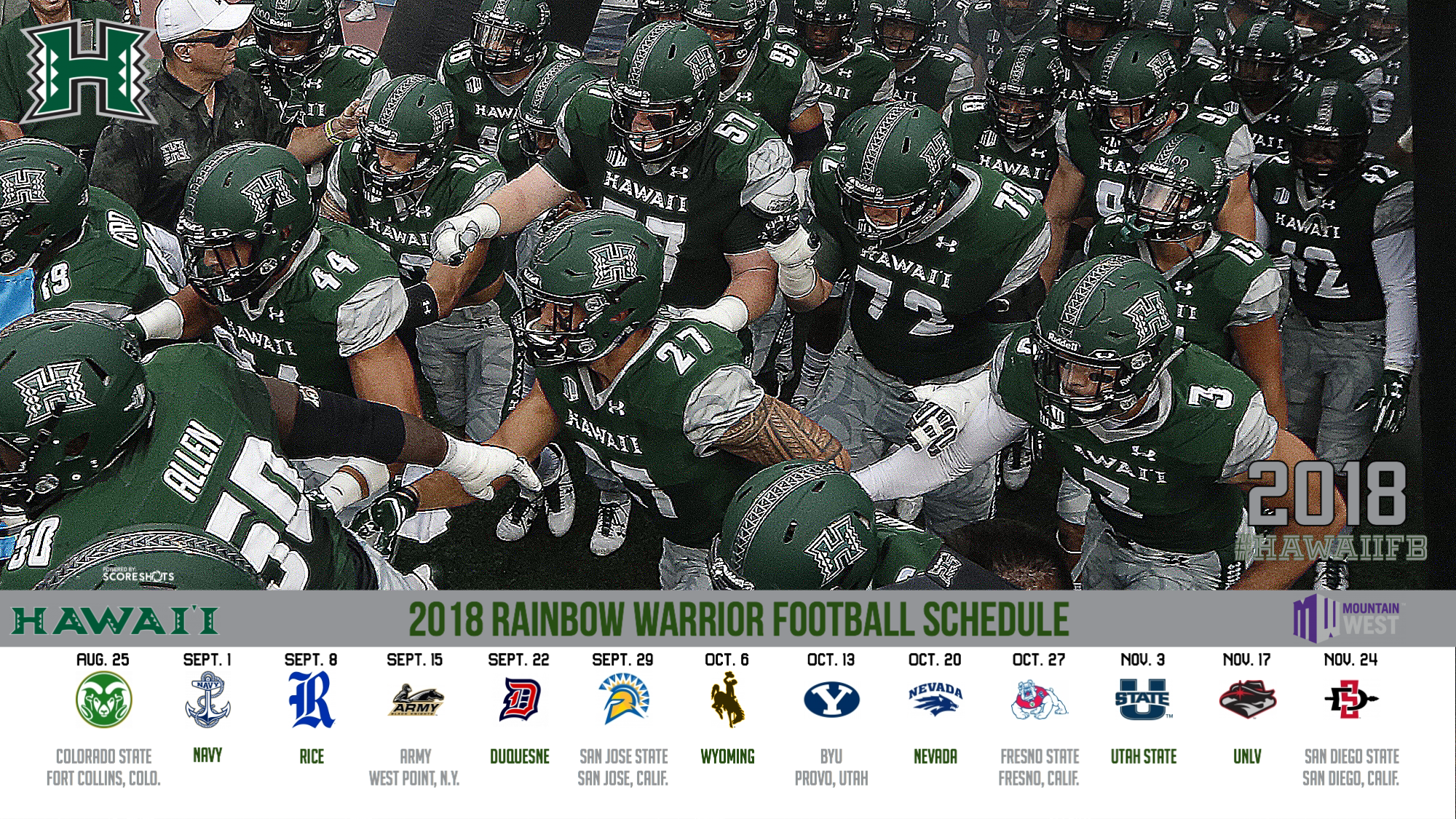 Mountain West Announces 2018 Football Schedule University Of Hawai