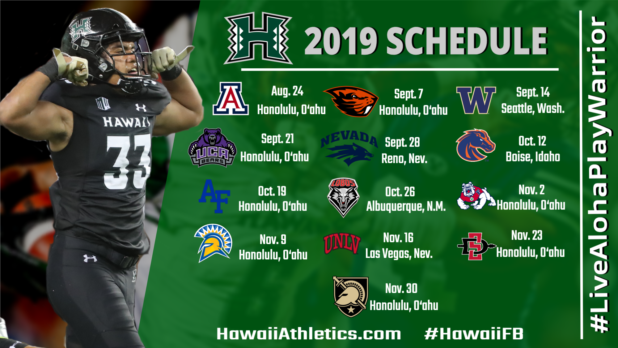 Oregon State Football Schedule 2020.2019 Football Schedule Announced University Of Hawai I At
